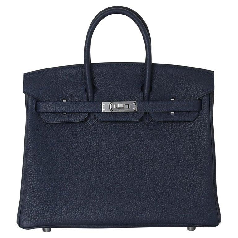 Hermes Birkin 25 Togo Palladium Hardware Bleu Nuit For Sale