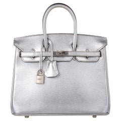 Hermes Birkin 25 Ultra Rare Metallic Silver Chevre Brushed Palladium Hardware