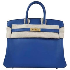 Hermes Birkin 25 Veau Swift Deep Blue Bag