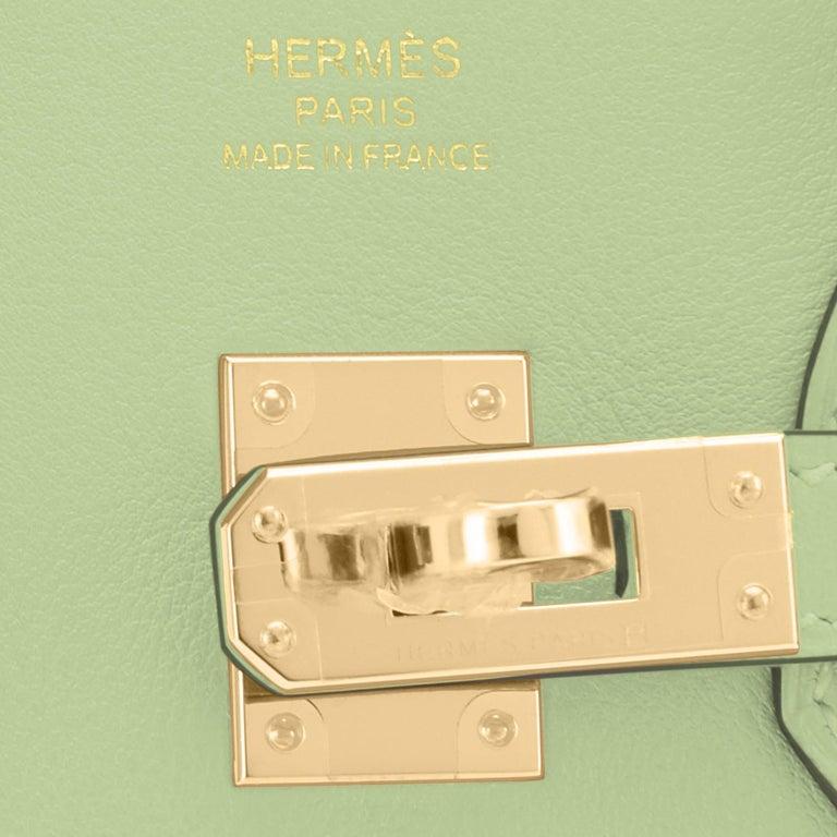 Hermes Birkin 25 Vert Criquet Chic Green Bag Gold Hardware Y Stamp, 2020 For Sale 8