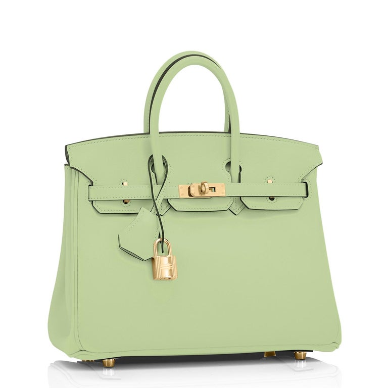 Hermes Birkin 25 Vert Criquet Fresh Green Bag Gold Hardware Y Stamp, 2020 Superb new pale green from Hermes- fresh and so on point for spring summer! Brand New in Box. Store Fresh. Pristine Condition (with plastic on hardware)  Just purchased from
