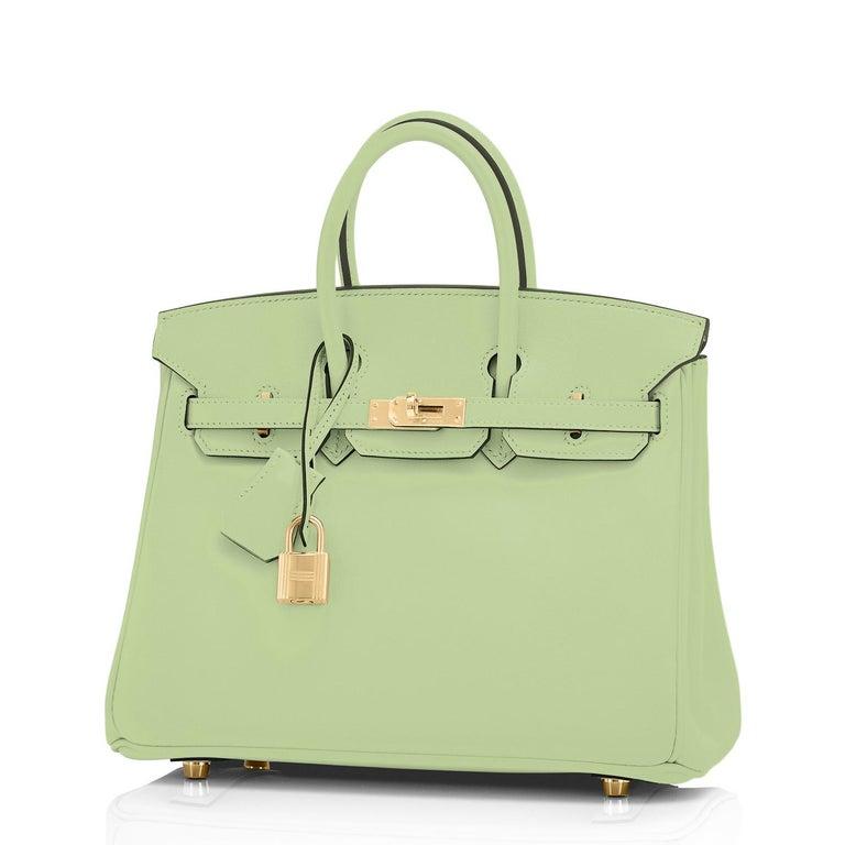 Women's or Men's Hermes Birkin 25 Vert Criquet Chic Green Bag Gold Hardware Y Stamp, 2020 For Sale