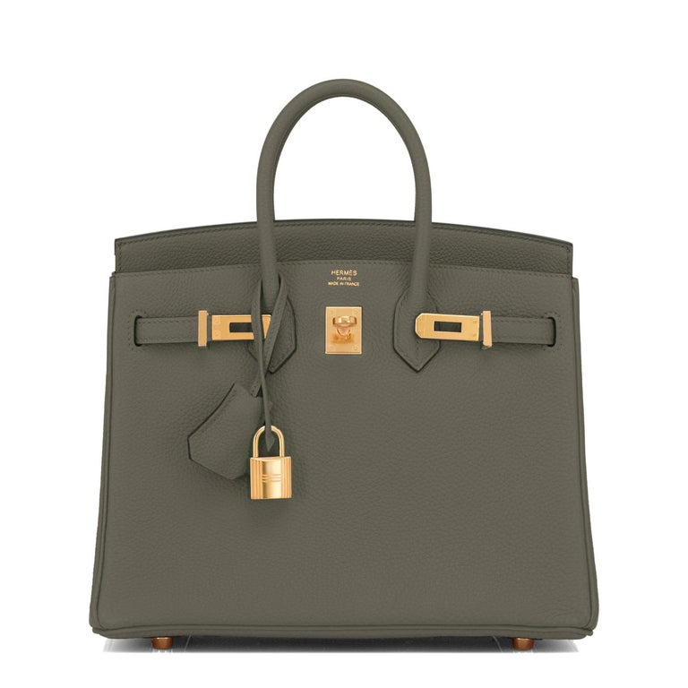 Gray Hermes Birkin 25 Vert Maquis Military Green Togo Gold Bag Y Stamp, 2020  For Sale