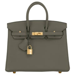 Hermes Birkin 25 Vert Maquis Military Green Togo Gold Bag Y Stamp, 2020