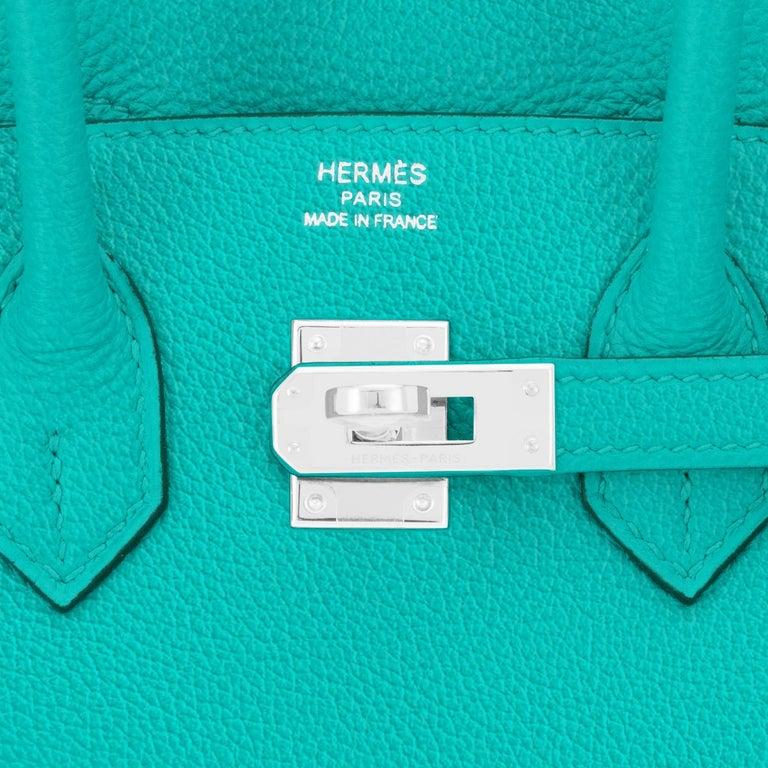 Hermes Birkin 25 Vert Verone Jewel Tone Lagoon Verso Graphite Bag Z Stamp, 2021 For Sale 5
