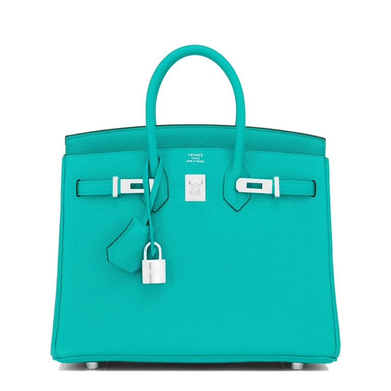 Women's Hermes Birkin 25 Vert Verone Jewel Tone Lagoon Verso Graphite Bag Z Stamp, 2021 For Sale