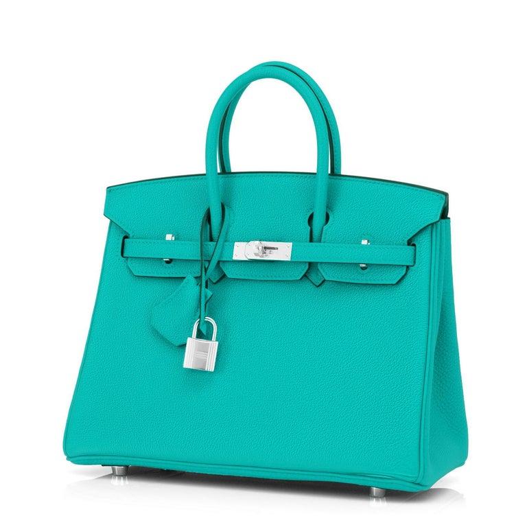 Hermes Birkin 25 Vert Verone Jewel Tone Lagoon Verso Graphite Bag Z Stamp, 2021 For Sale 1