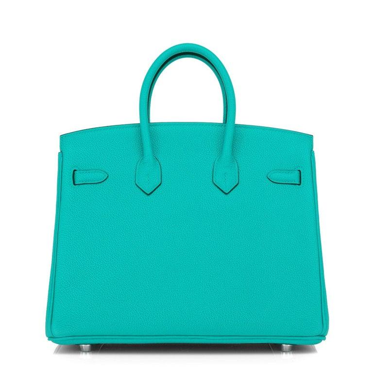 Hermes Birkin 25 Vert Verone Jewel Tone Lagoon Verso Graphite Bag Z Stamp, 2021 For Sale 3