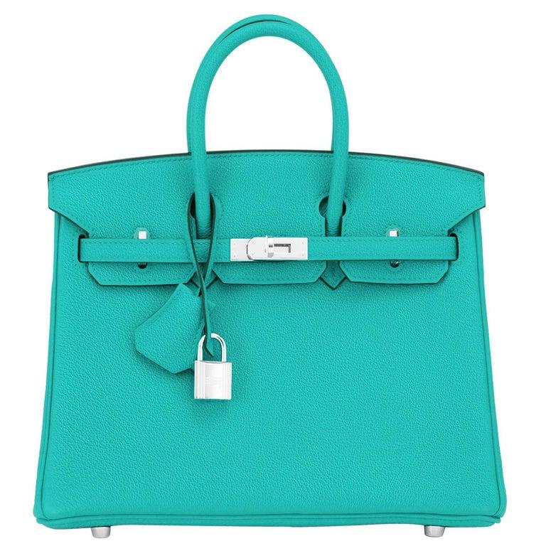 Hermes Birkin 25 Vert Verone Jewel Tone Lagoon Verso Graphite Bag Z Stamp, 2021 For Sale
