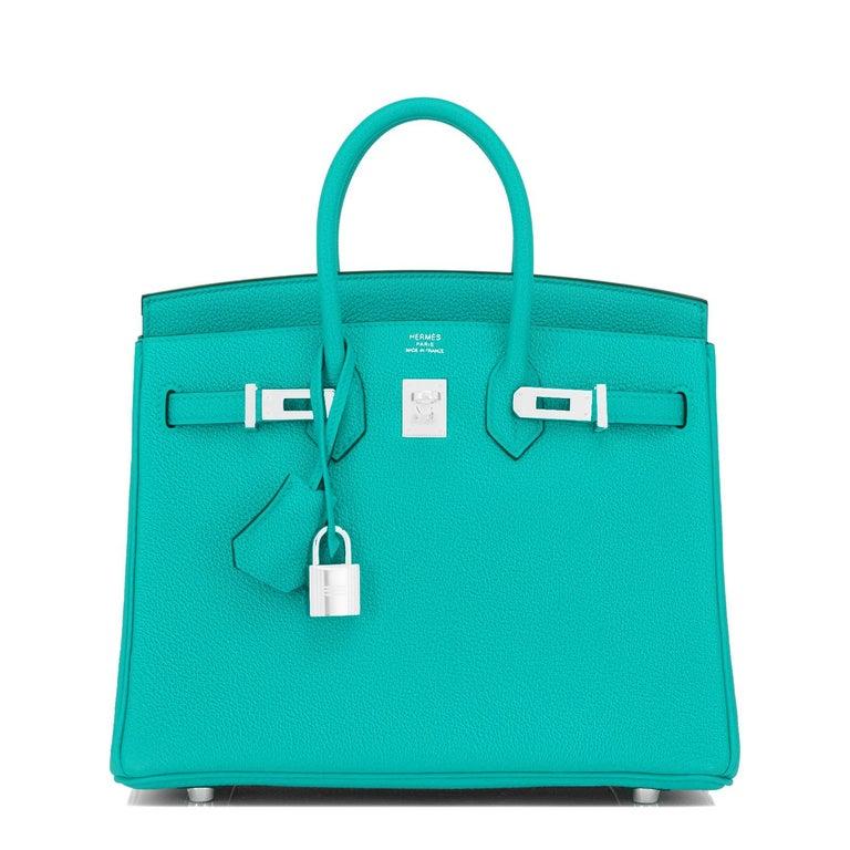 Hermes Birkin 25 Vert Verone Rose Lipstick Jewel Lagoon Verso Bag Z Stamp, 2021 6