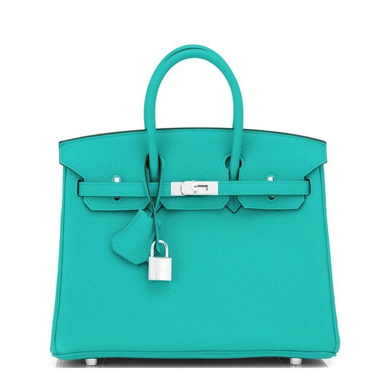 Women's Hermes Birkin 25 Vert Verone Rose Lipstick Jewel Lagoon Verso Bag Z Stamp, 2021