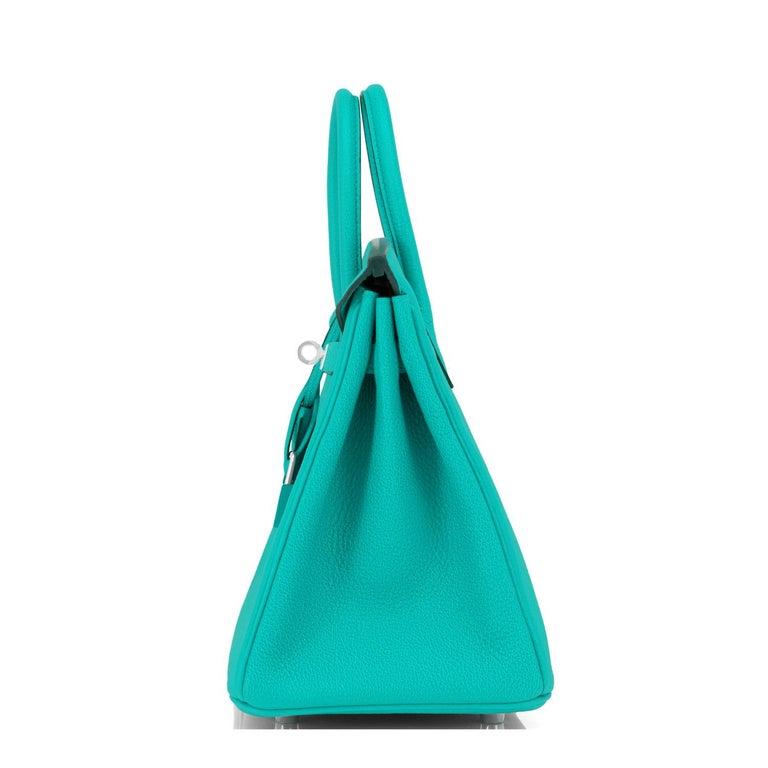 Hermes Birkin 25 Vert Verone Rose Lipstick Jewel Lagoon Verso Bag Z Stamp, 2021 2