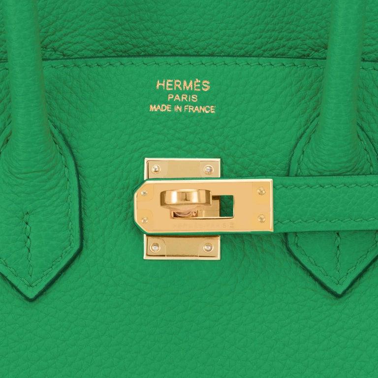 Hermes Birkin 25cm Bambou Green Bamboo Gold Hardware Bag Y Stamp, 2020 For Sale 6
