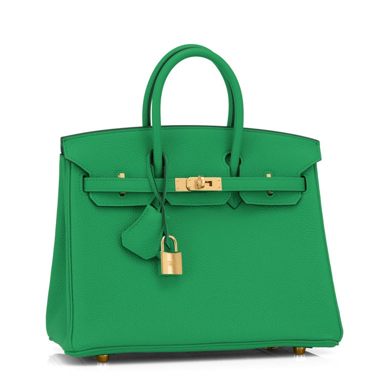 Hermes Bambou Green Togo 25cm Birkin Gold Hardware Y Stamp, 2020 Brand New in Box. Store fresh. Pristine Condition (with plastic on hardware) Just purchased from Hermes store! Bag bears new 2020 interior Y Stamp. Perfect gift!  Comes with keys,