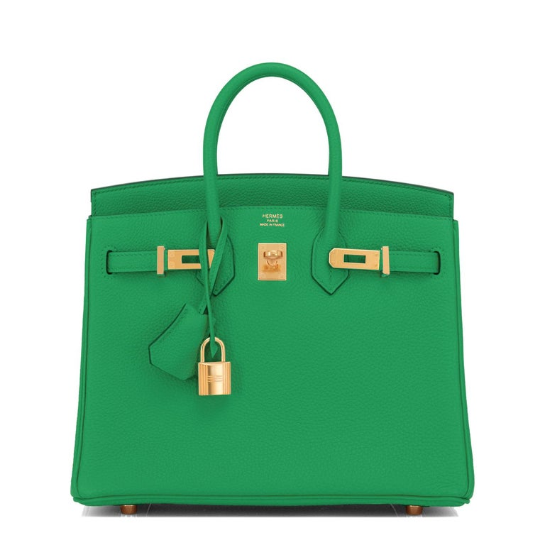 Hermes Birkin 25cm Bambou Green Bamboo Gold Hardware Bag Y Stamp, 2020 In New Condition For Sale In New York, NY