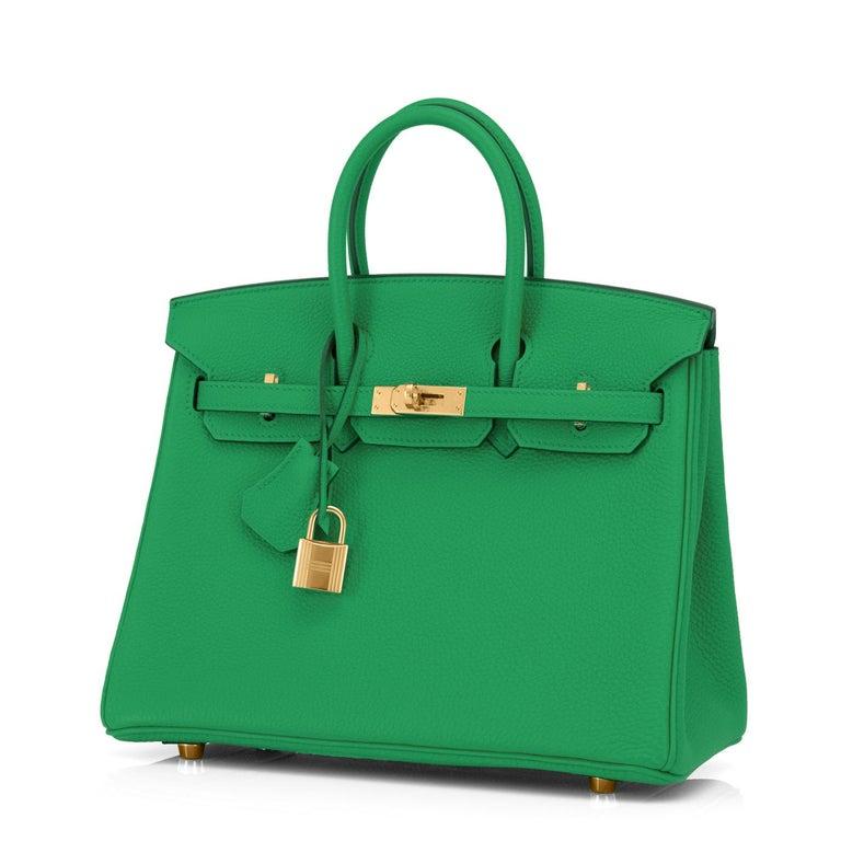 Women's Hermes Birkin 25cm Bambou Green Bamboo Gold Hardware Bag Y Stamp, 2020 For Sale