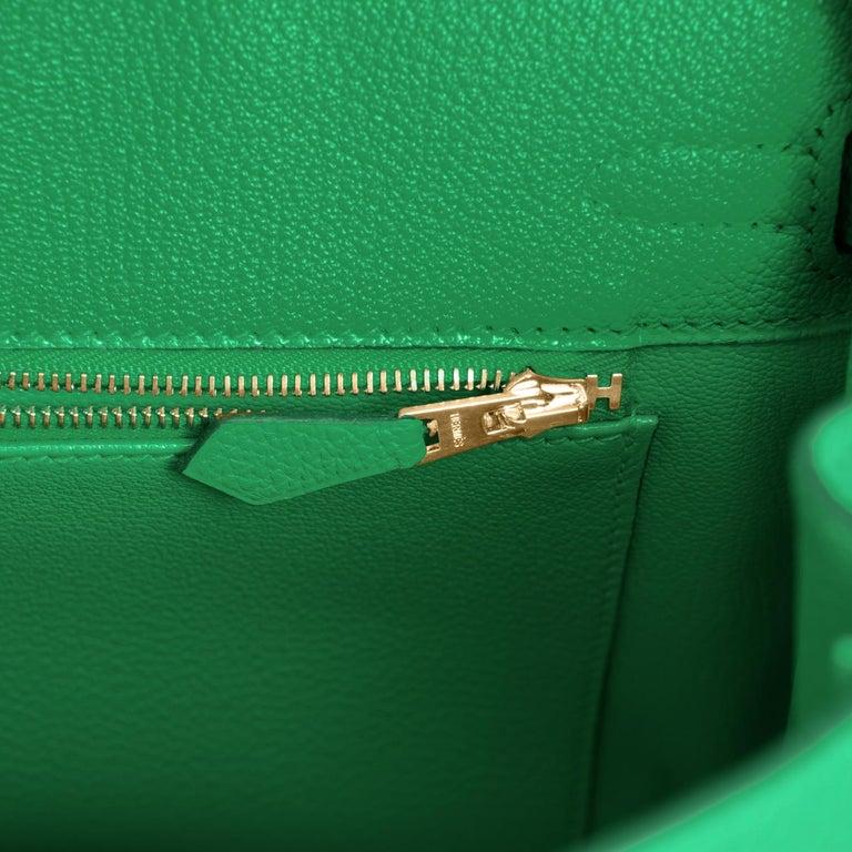 Hermes Birkin 25cm Bambou Green Bamboo Gold Hardware Bag Y Stamp, 2020 For Sale 5