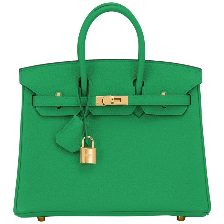 Hermes Birkin 25cm Bambou Green Bamboo Gold Hardware Bag Y Stamp, 2020 For Sale
