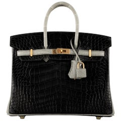 Hermès Birkin 25cm Black & Gris Perle Matte Alligator Brushed Gold Hardware