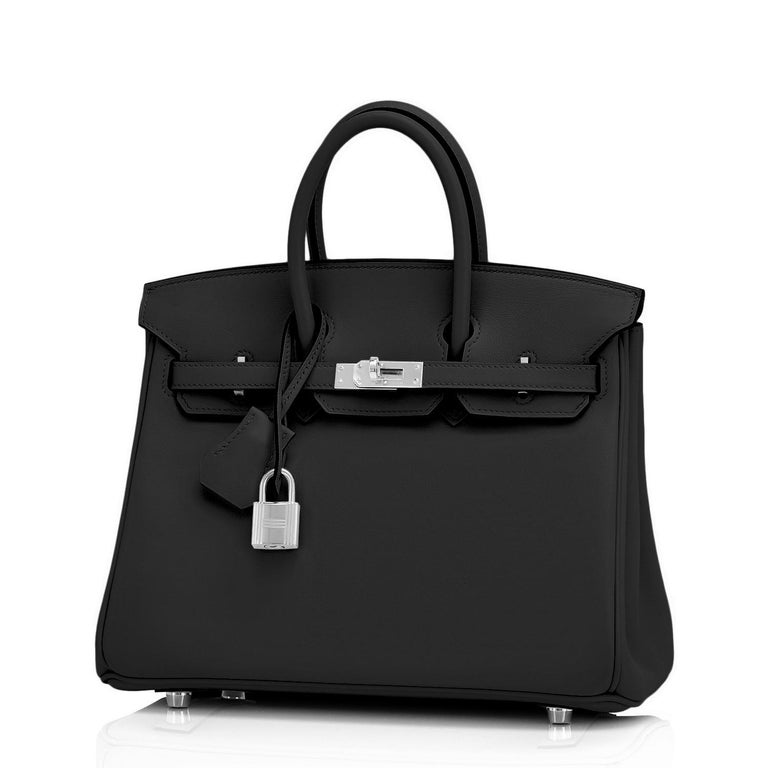 Hermes Birkin 25cm Black Swift Palladium Hardware Y Stamp, 2020 Brand New in Box.  Store Fresh. Pristine Condition (with plastic on hardware) Just purchased from Hermes store; bag bears new interior 2020 Y stamp. Perfect gift! Comes full set with