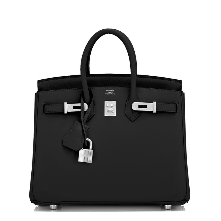 Hermes Birkin 25cm Black Swift Palladium Hardware Y Stamp, 2020 In New Condition For Sale In New York, NY