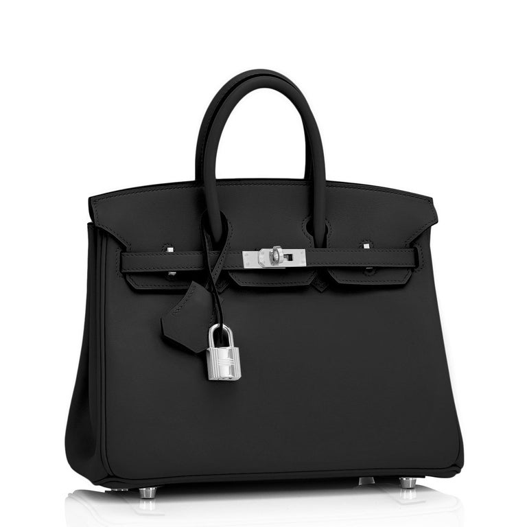 Women's or Men's Hermes Birkin 25cm Black Swift Palladium Hardware Y Stamp, 2020 For Sale