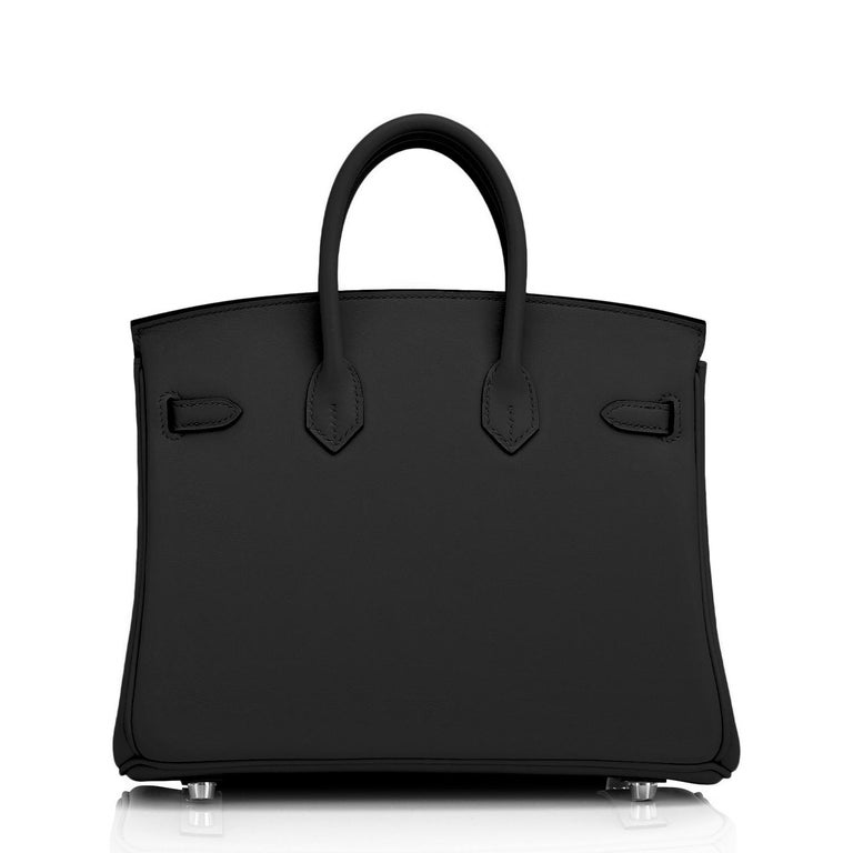 Hermes Birkin 25cm Black Swift Palladium Hardware Y Stamp, 2020 For Sale 1