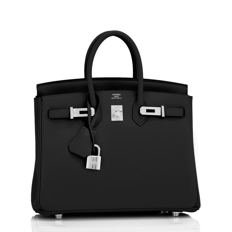 Hermes Birkin 25cm Black Swift Palladium Hardware Y Stamp, 2020 For Sale 4