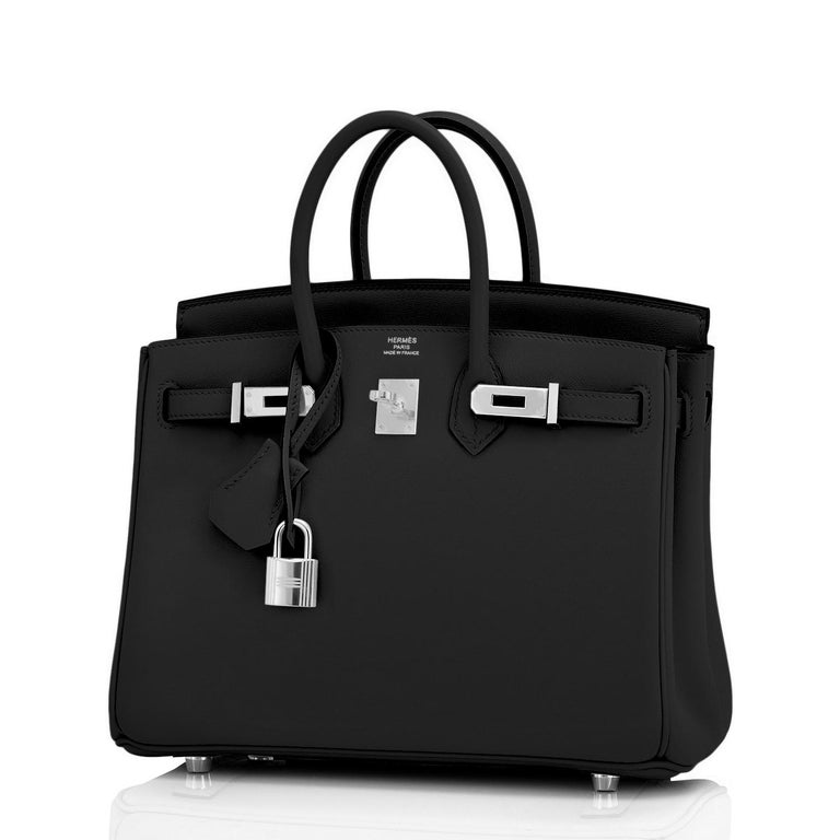 Hermes Birkin 25cm Black Swift Palladium Hardware Y Stamp, 2020 For Sale 5