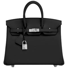 Hermes Birkin 25cm Black Swift Palladium Hardware Y Stamp, 2020