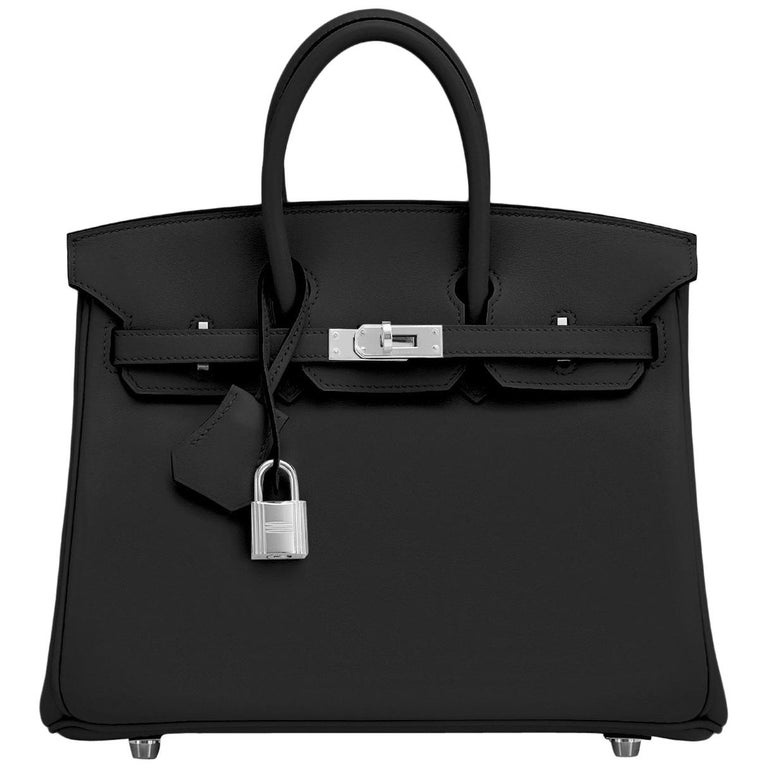 Hermes Birkin 25cm Black Swift Palladium Hardware Y Stamp, 2020 For Sale