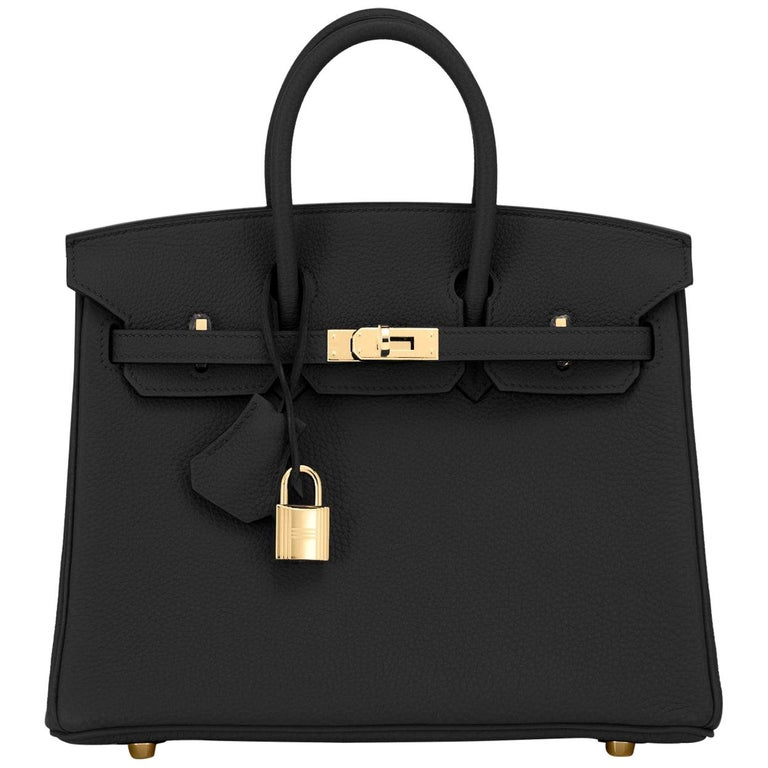 Hermes Birkin 25cm Black Togo Gold Hardware Bag Jewel Y Stamp, 2020 For Sale