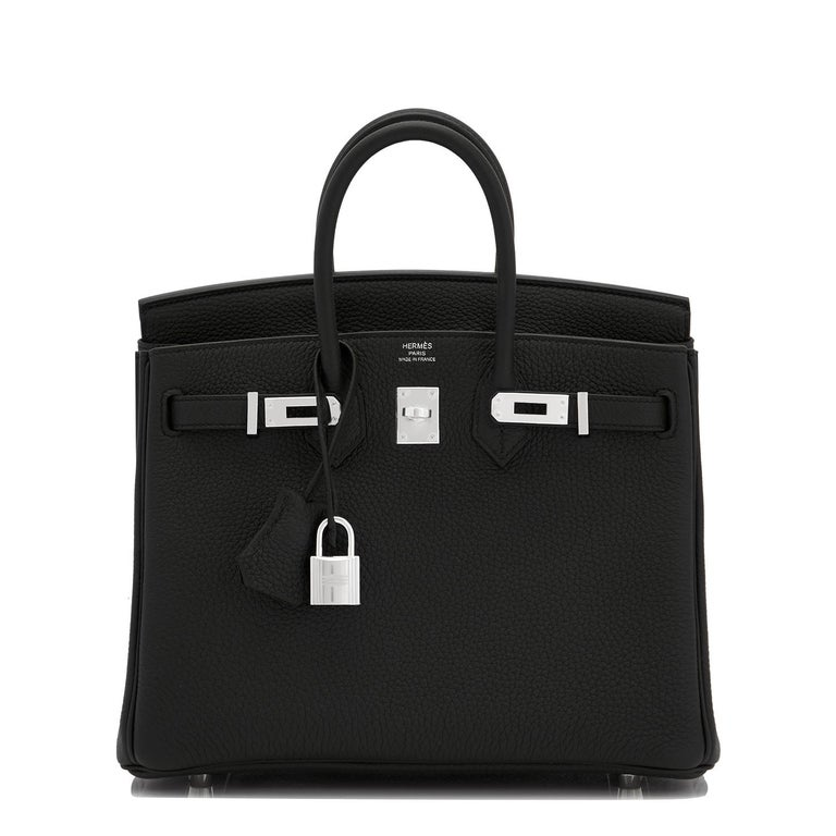 Hermes Birkin 25cm Black Togo Palladium Bag  In New Condition For Sale In New York, NY