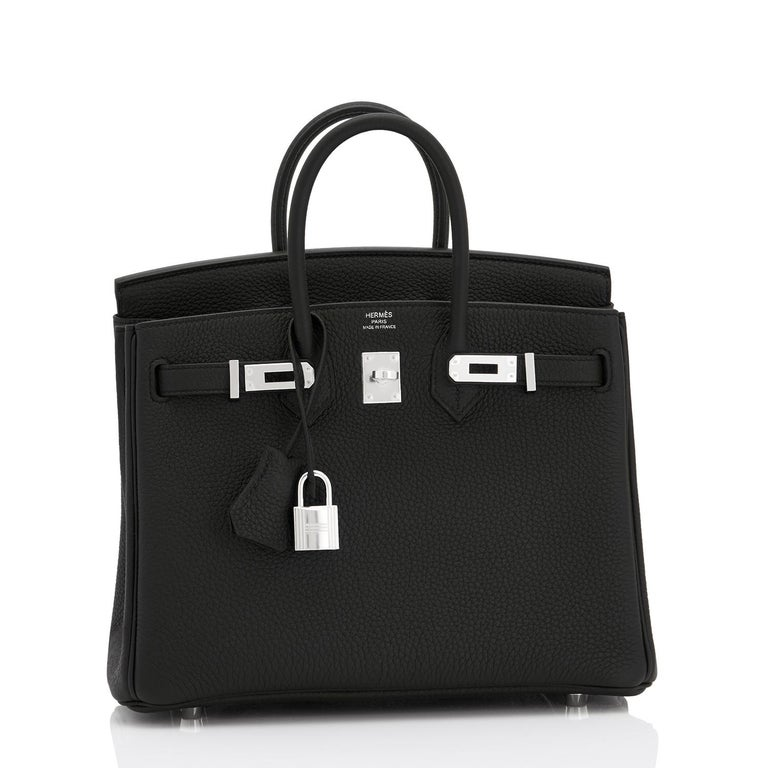 Hermes Black Baby Birkin 25cm Palladium Hardware  Brand New in Box. Store Fresh. Pristine Condition (with plastic on hardware) Perfect gift! Comes full set with keys, lock, clochette, a sleeper for the bag, rain protector, and Hermes box. The