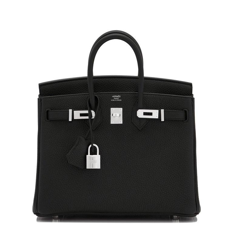 Hermes Birkin 25cm Black Togo Palladium Bag NEW In New Condition For Sale In New York, NY