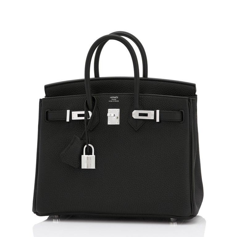 Women's or Men's Hermes Birkin 25cm Black Togo Palladium Bag NEW For Sale