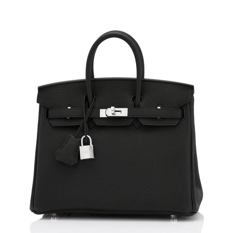 Hermes Birkin 25cm Black Togo Palladium Bag NEW For Sale 4