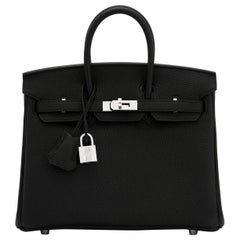 Hermes Birkin 25cm Black Togo Palladium Bag NEW