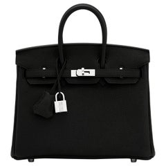 Hermes Birkin 25cm Black Togo Palladium Bag Y Stamp, 2020
