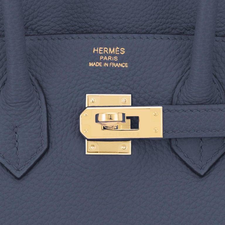 Hermes Birkin 25cm Blue Nuit Jewel-Toned Navy Gold Hardware Bag Y Stamp, 2020 For Sale 5