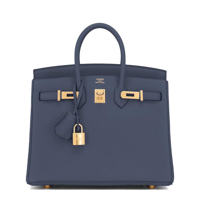 Purple Hermes Birkin 25cm Blue Nuit Jewel-Toned Navy Gold Hardware Bag Y Stamp, 2020 For Sale