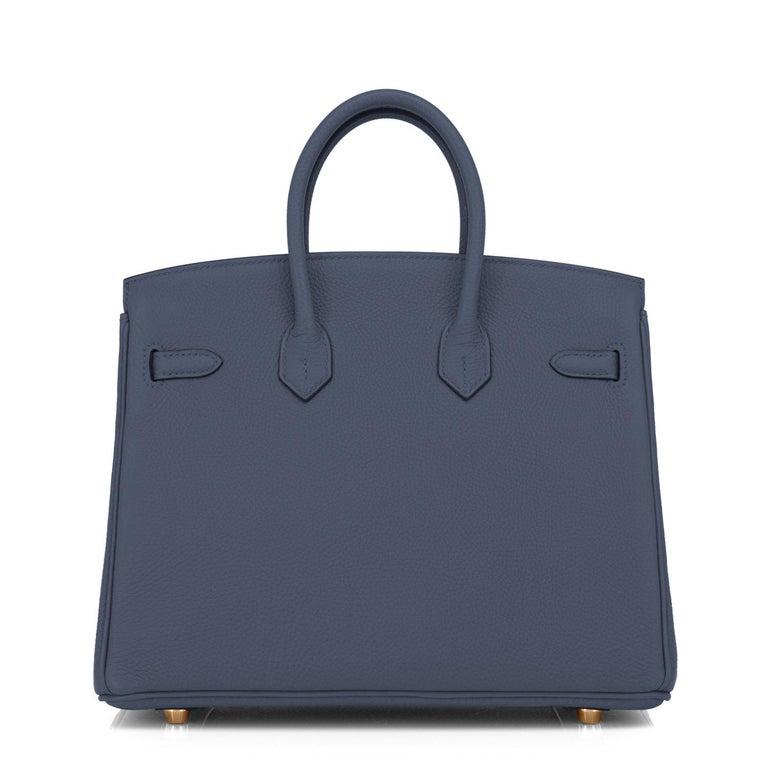 Women's Hermes Birkin 25cm Blue Nuit Jewel-Toned Navy Gold Hardware Bag Y Stamp, 2020 For Sale