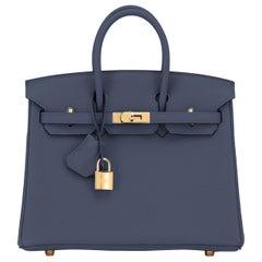 Hermes Birkin 25cm Blue Nuit Jewel-Toned Navy Gold Hardware Bag Y Stamp, 2020
