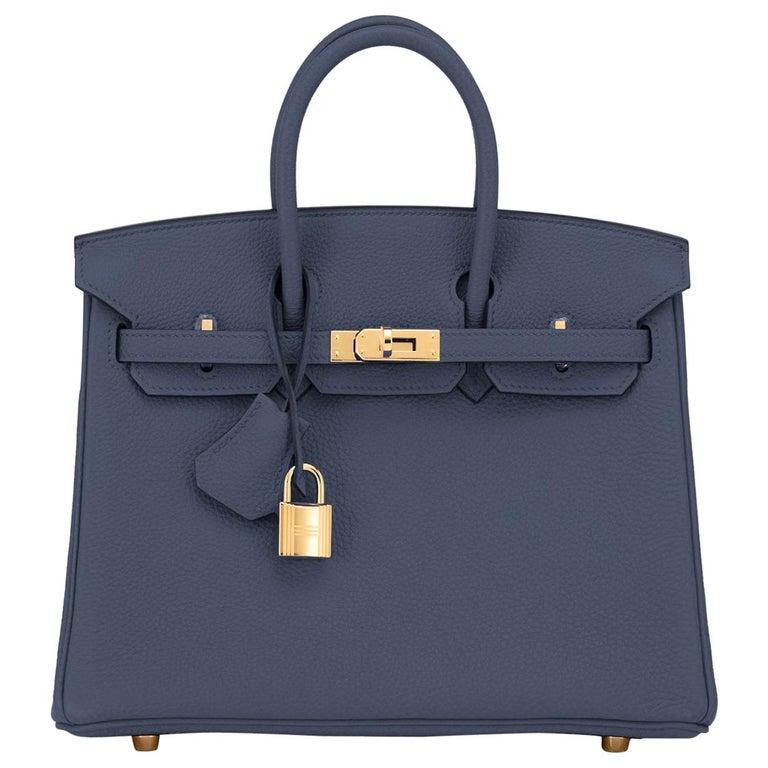 Hermes Birkin 25cm Blue Nuit Jewel-Toned Navy Gold Hardware Bag Y Stamp, 2020 For Sale
