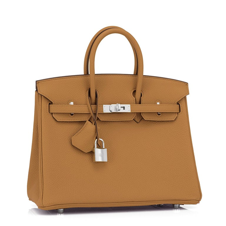 Hermes Birkin 25cm Bronze Dore TogoGold Tan Bag Palladium Bag Y Stamp, 2020 Uber chic and sleek Baby Birkin for the modern fashionista! Brand New in Box. Store Fresh. Pristine Condition (with plastic on hardware) Just purchased from Hermes store;