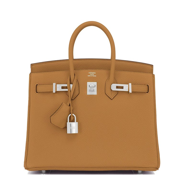 Brown Hermes Birkin 25cm Bronze Dore Togo Gold Tan Bag Palladium Bag Y Stamp, 2020 For Sale