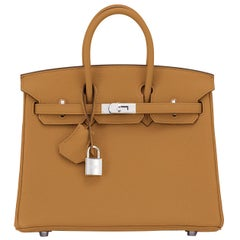 Hermes Birkin 25cm Bronze Dore Togo Gold Tan Bag Palladium Bag Y Stamp, 2020