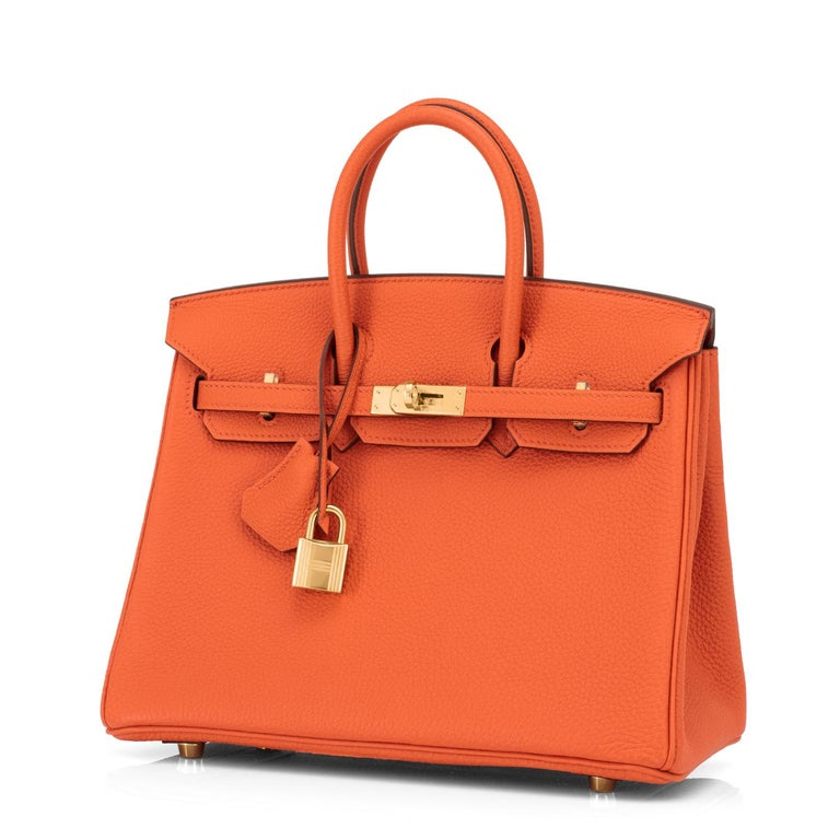 Hermes Birkin 25cm Classic Hermes Orange Togo Gold Hardware Bag New In New Condition In New York, NY