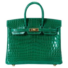 Hermes Birkin 25cm Emerald Porosus Crocodile with Gold hardware