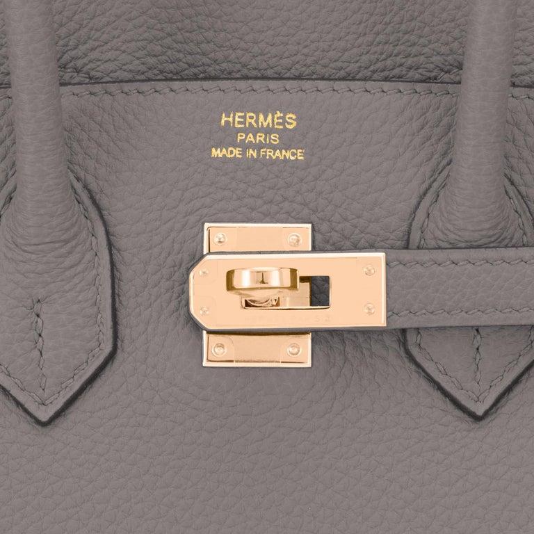 Hermes Birkin 25cm Etain Tin Grey Rose Gold Hardware Bag Y Stamp, 2020 For Sale 5